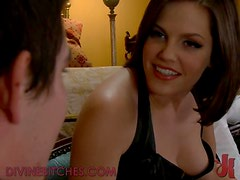 Dominant Brunette Playing With Her Horny Man Slave