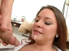 Talia Palmer gets her face doused with warm cum