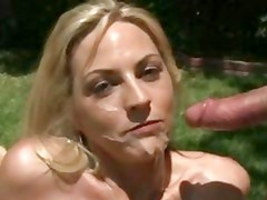 Saucy Sindy Lang gets her face drizzled with warm jizz