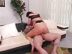 Randy Sophie Dee rides her pussy on this thick shaft