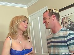 Experienced milf jerks off a young cock