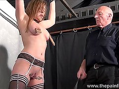Sexy slave Taylor Hearts pussy clamped suffer
