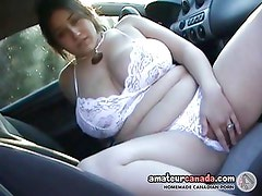 Big boobs geek girlfriend outdoors in lingerie fingers