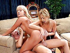Blonde asians raunchy threesome