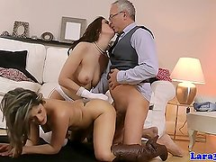 Classy mature enjoys threeway with hot babe