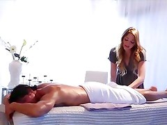 Hot masseuse Jessie Andrews gives the full service