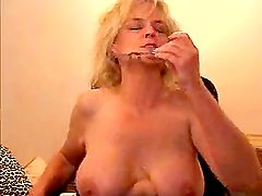 Blonde granny sucks and fucks three men