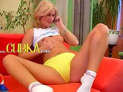 Czech blonde princess fucking a toy