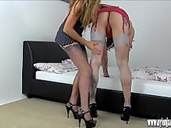 Sexy Milf anal toys tranny and teases big cock to explode on her big boobs