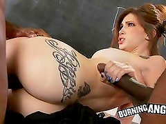 Monster black cocks sharing horny brunette