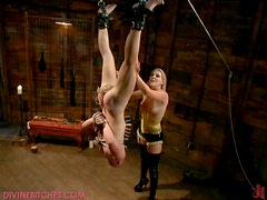 Sexy Blonde Dominatrix gives Some Spanking in the Dungeon