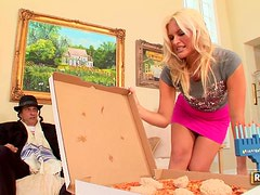 Sexy Blonde Kaycee Brooks Gets a Kosher Pizza Delivery!