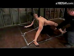Hot Blonde Tied To Wood Reel Fingered Whipped Pussy Stimulated With Vibrator In The Dungeon