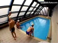 Slim Guy In Swimming Cap Getting Kiss Of Life Cock Jerked By 3 Girls Licking Pussies Nearby The Swimming Pool