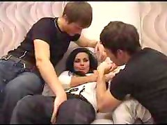 Two guys forced girl to suck and fuck