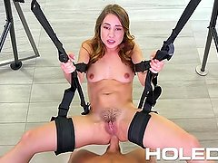 HOLED Taylor Sands asshole fucked on the sex swing
