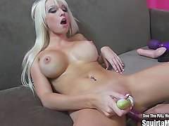 Rikki Six Big Boob Blonde Bimbo Squirts and Sucks Cock