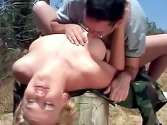 Nerdy guy fucks shaved pussy outdoors
