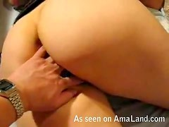 Fingering my GF's tight ass in bed