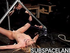 Bondage slave rough punishment and kinky spanking with cumshot swallow