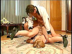 Russian milf in sexy lingerie helps to guy masturbate his dick and he fucks