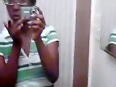Black girl self shot in mirror