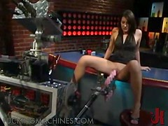 Sexy Bartender Takes A Shot At A Fucking Machine