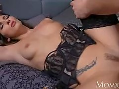 MOM Seductive French milf in sexy stockings and suspenders gets creampie