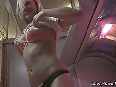 Cutest amateur lass getting naughty in the solarium