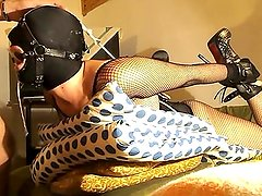 Wife hogtied and ring gag mouth fuck
