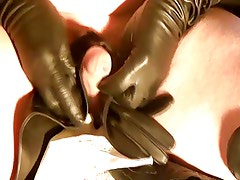 leather boots and gloves