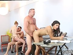associate's daughter watches mom get fucked