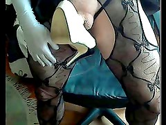 Mistress playing with high heel shoe and cock