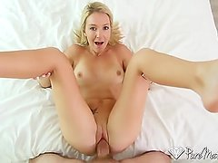 PureMature Blonde MILF Laura Bentley toys pussy in bath before big dick fuc