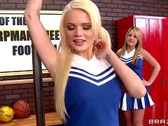 Horny Cheerleaders Alexis Ford And Courtney Cummz Ride A Hard Cock