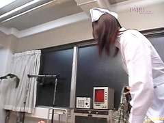 Japanese Nurse Deepthroats In POV Blowjob Vid