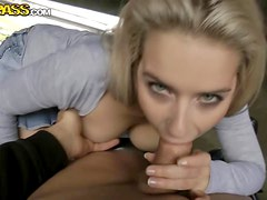 Beautiful Blonde And Her Natural Tits Rides A Stiff Cock In Public