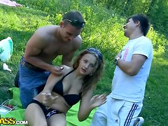 Outdoor Threesome With AN Insanely Busty Blonde Girl