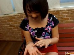 Asian Babe Gives a Blowjob and Spits The Cum On Her Hands