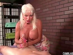 Huge-titted woman handjob