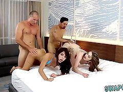 Family strokes cute boss's step daughter