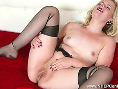Naughty blonde Anna Belle wanks in retro garter and sheer black nylons