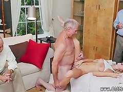 Girl licking old granny riding step daddy