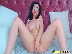 Nerdy Babe Fingering and Toying Her Pink Pussy