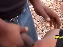 Two guys pounding African chick