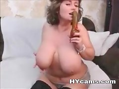 Horny Milf With Natural Breast Masturbating On Webcam