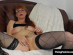 Petite Star Penny Pax Massages Her Clit with A Purple Dildo!