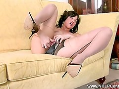 Tracy Rose looks wanks pussy in black seam pantyhose heels and panties
