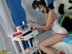 Dressed Up Nurse Girl Gets A Pounding From A Panda Teddy