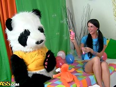 Brunette Gets A Sex Toy Panda For Her Birthday